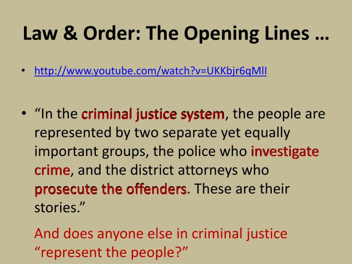 Law & Order: The Opening Lines …