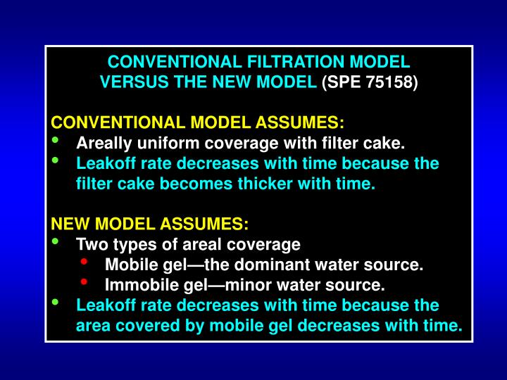 CONVENTIONAL FILTRATION MODEL