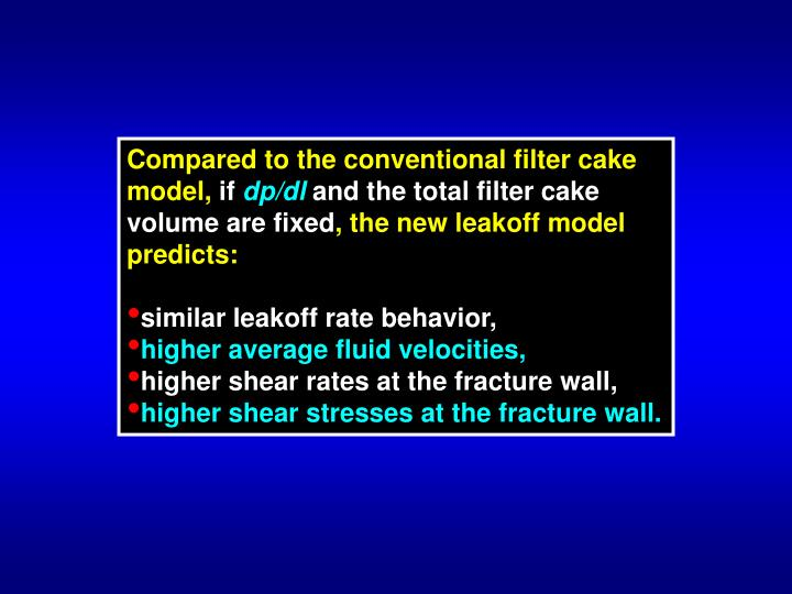 Compared to the conventional filter cake model,
