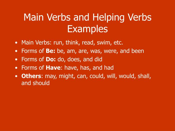 Main Verbs and Helping Verbs Examples