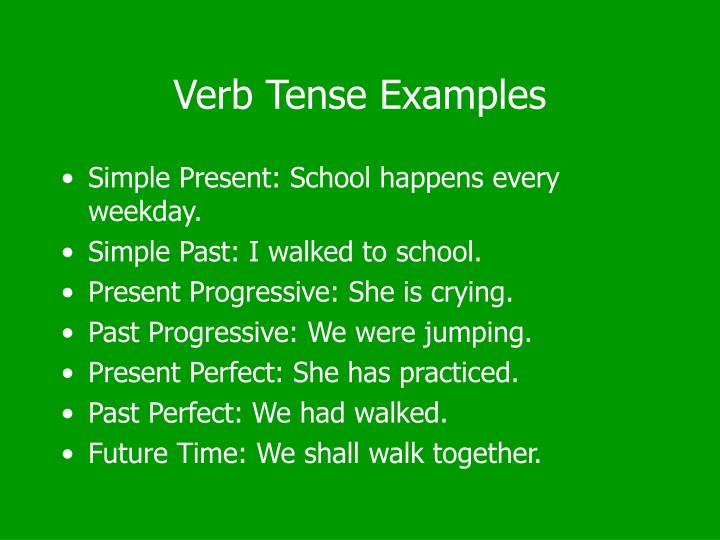 Verb Tense Examples