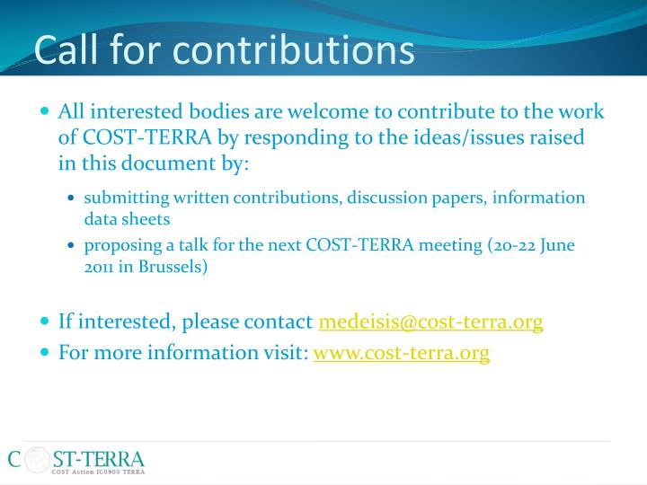 Call for contributions