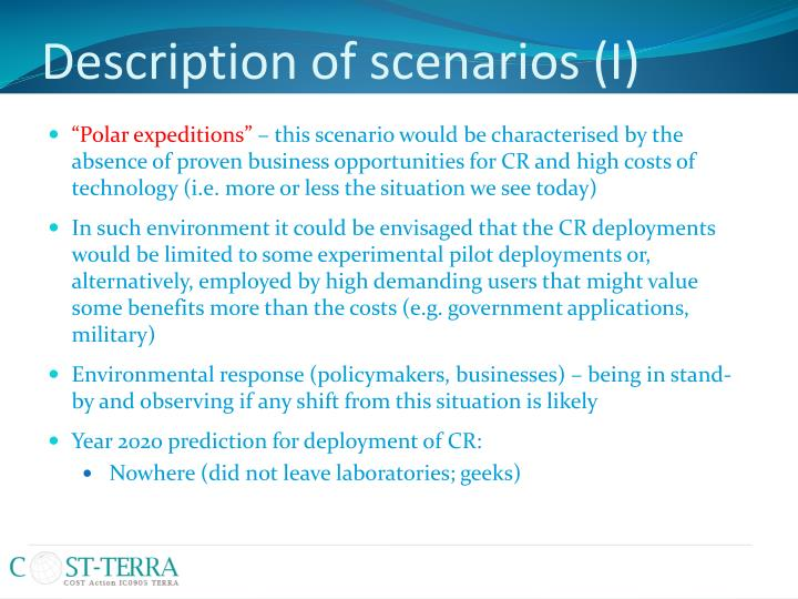 Description of scenarios (I)