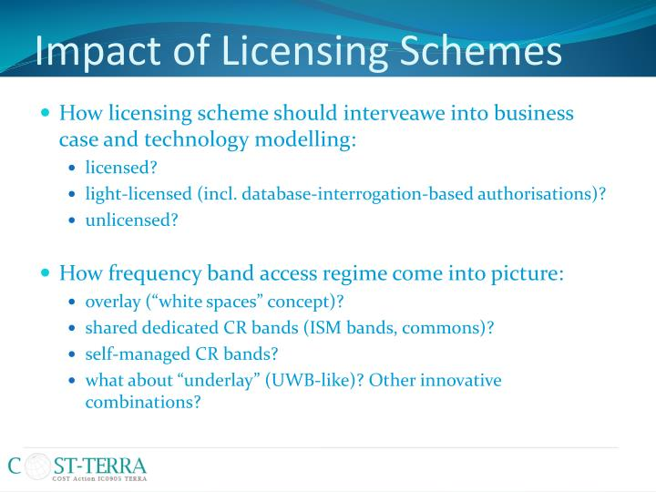 Impact of Licensing Schemes