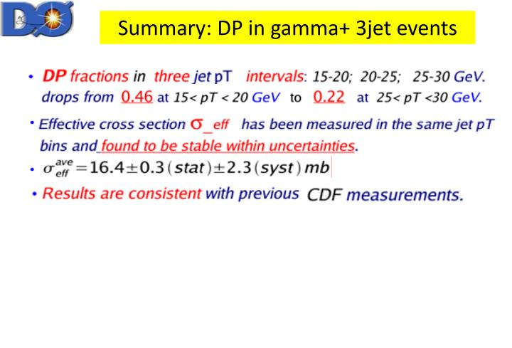 Summary: DP in gamma+ 3jet events