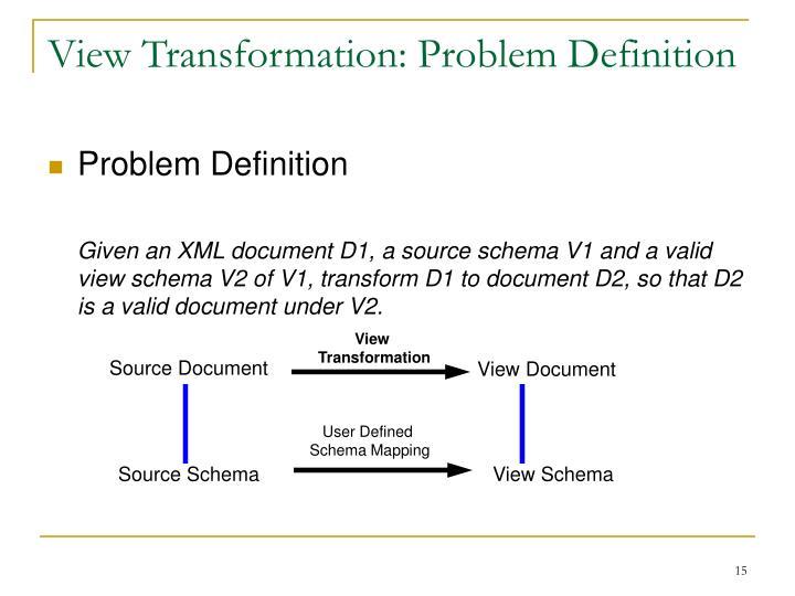 View Transformation: Problem Definition
