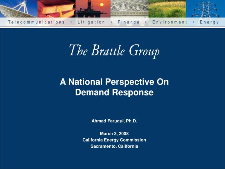 A National Perspective On Demand Response