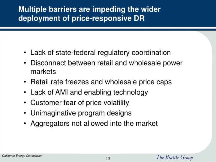 Multiple barriers are impeding the wider deployment of price-responsive DR