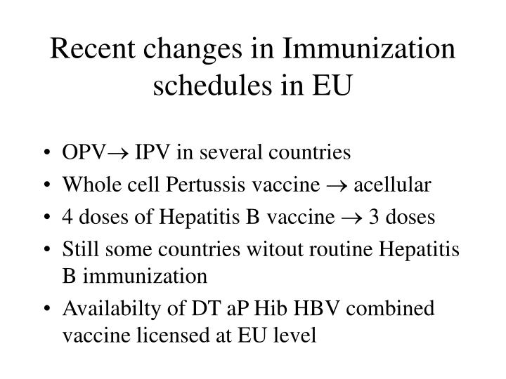 Recent changes in Immunization schedules in EU