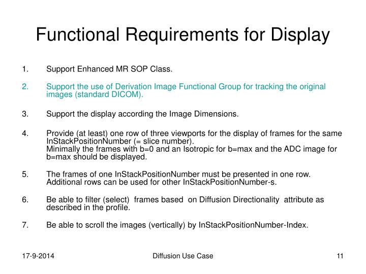 Functional Requirements for Display