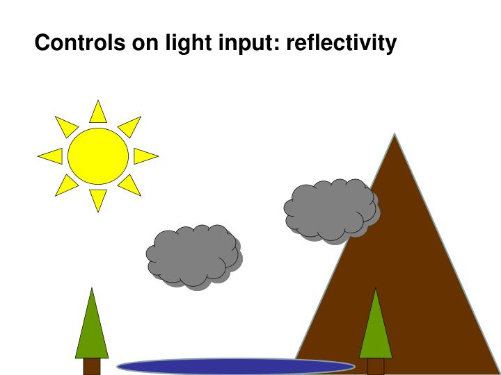 Controls on light input: reflectivity