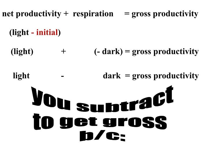 net productivity +  respiration     = gross productivity