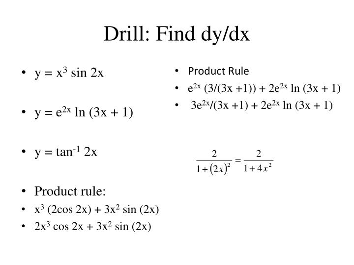 Drill find dy dx