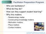 facilitator preparation program