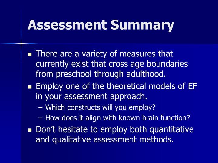 Assessment Summary