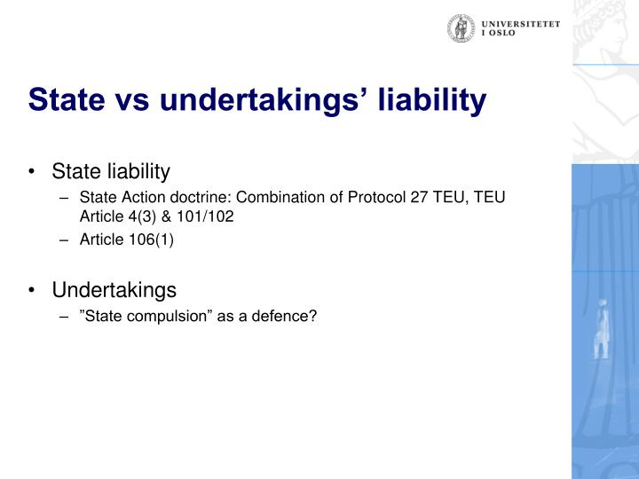 State vs undertakings' liability
