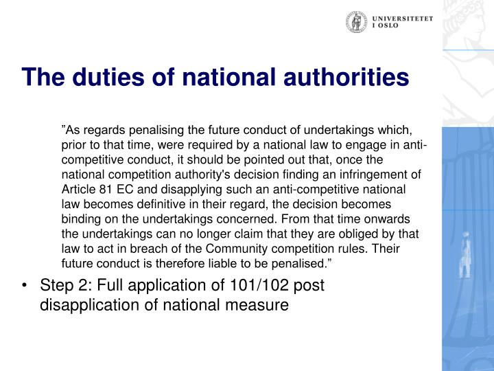 The duties of national authorities