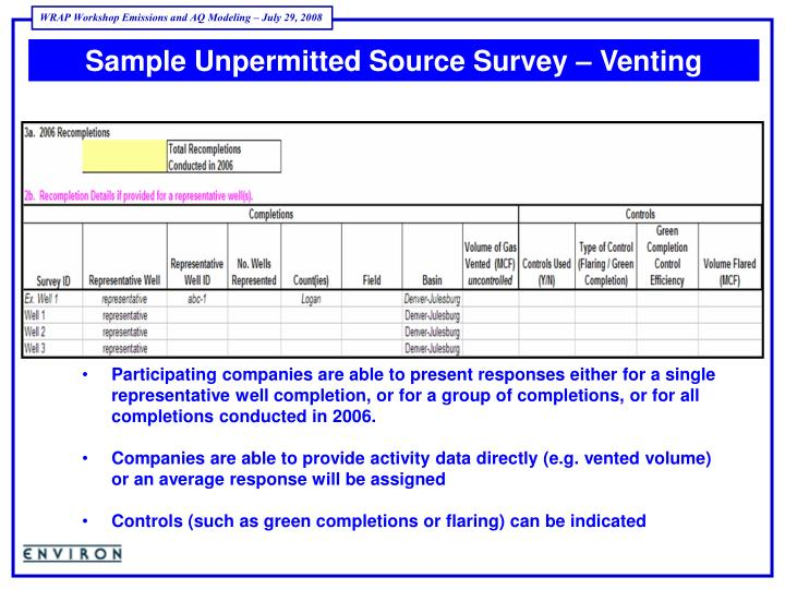 Sample Unpermitted Source Survey – Venting