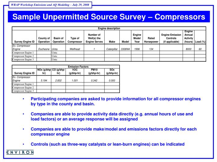Sample Unpermitted Source Survey – Compressors