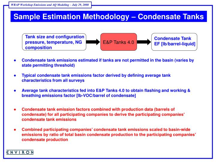 Sample Estimation Methodology – Condensate Tanks