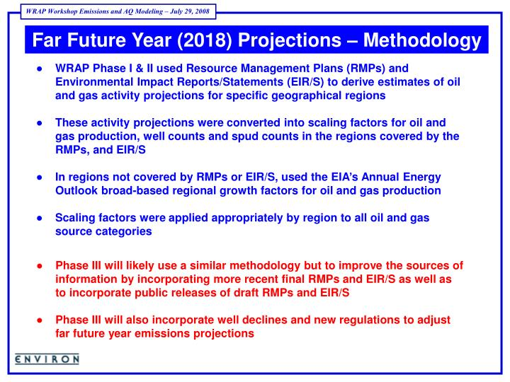 Far Future Year (2018) Projections – Methodology