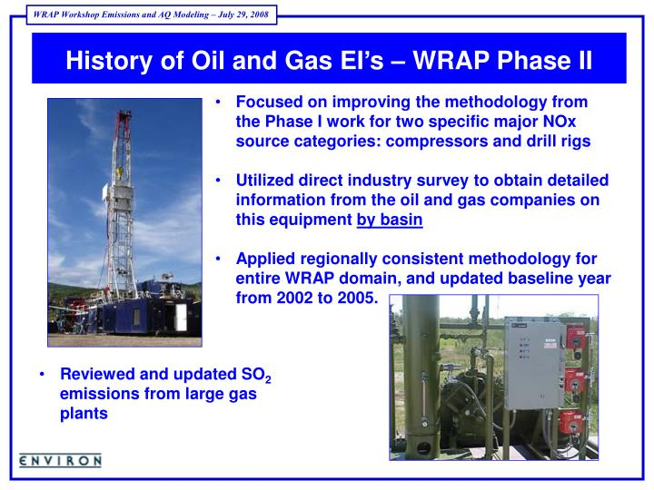 History of Oil and Gas EI's – WRAP Phase II