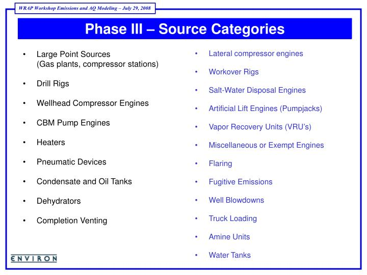 Phase III – Source Categories
