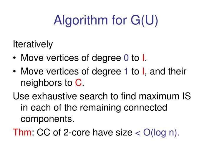 Algorithm for G(U)