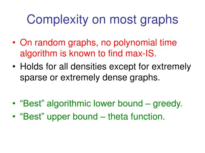 Complexity on most graphs