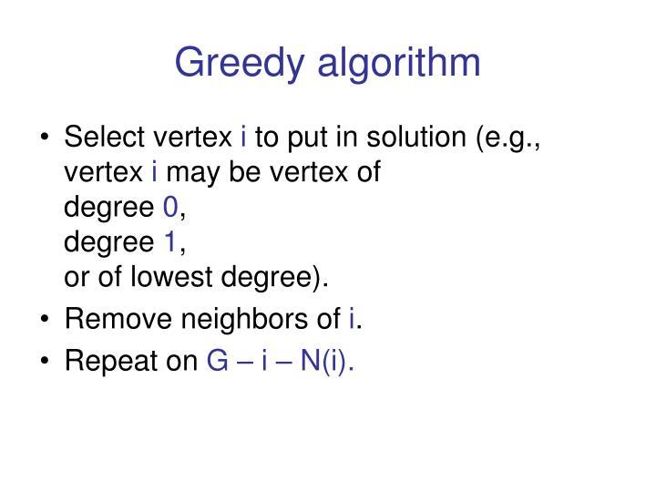 Greedy algorithm