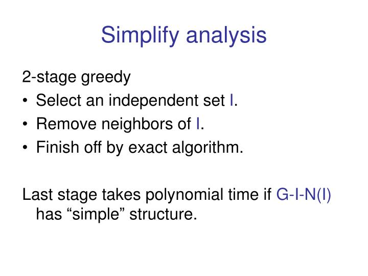 Simplify analysis