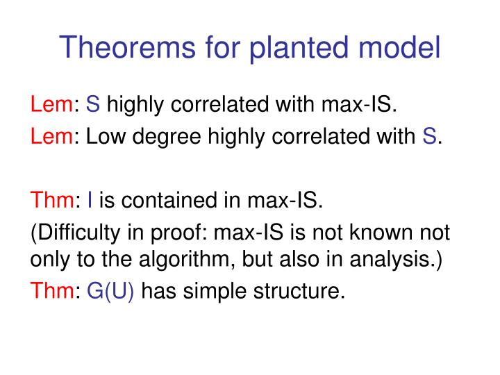 Theorems for planted model
