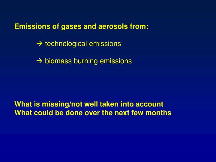 Emissions of gases and aerosols from: