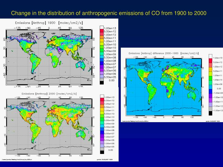 Change in the distribution of anthropogenic emissions of CO from 1900 to 2000