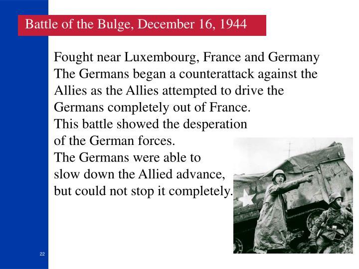 Battle of the Bulge, December 16, 1944