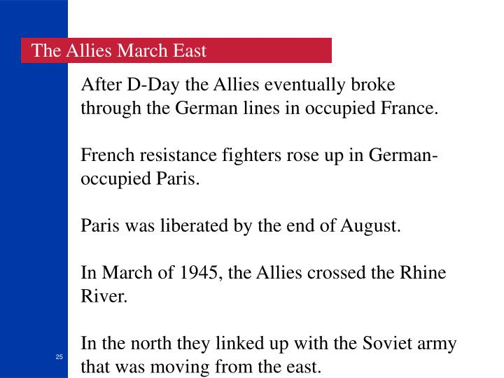 The Allies March East