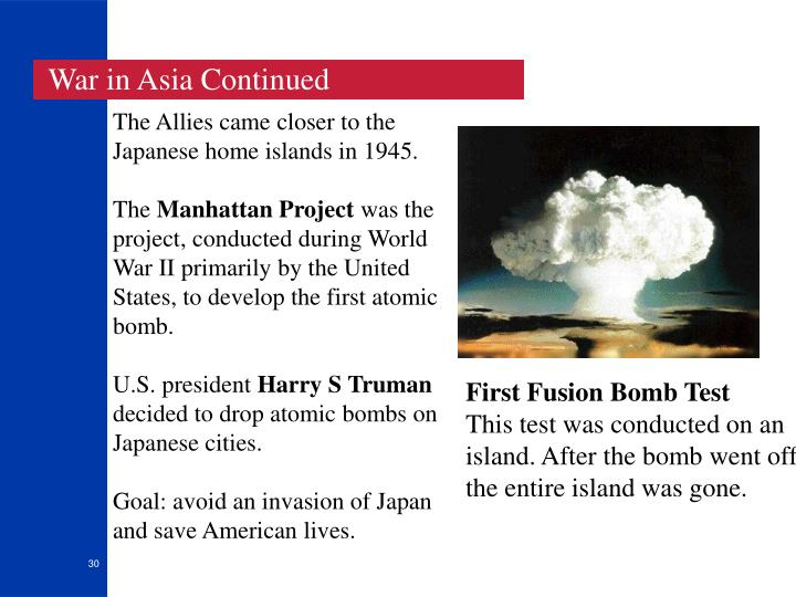 War in Asia Continued