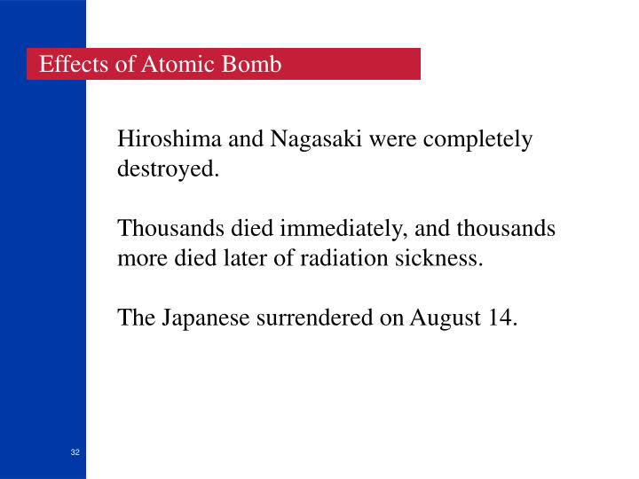 Effects of Atomic Bomb