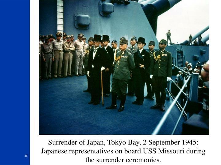 Surrender of Japan, Tokyo Bay, 2 September 1945: Japanese representatives on board USS Missouri during the surrender ceremonies.