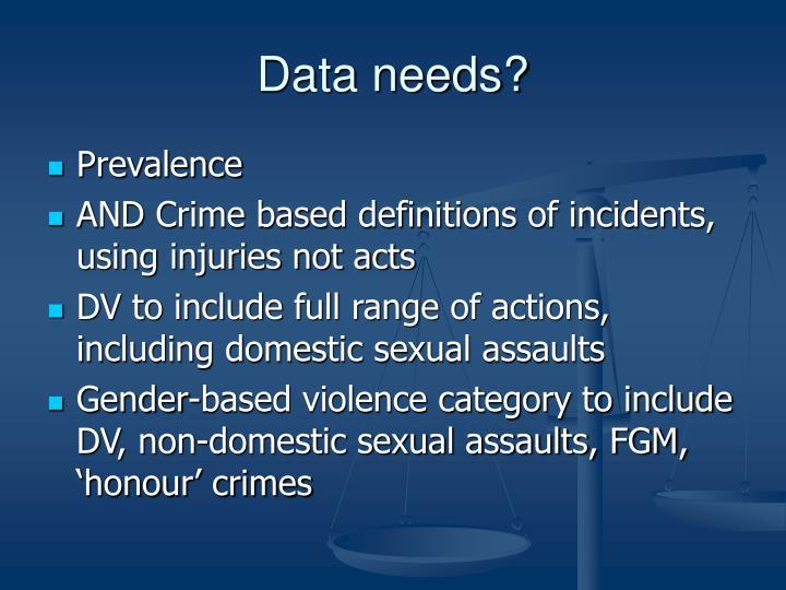 Data needs?
