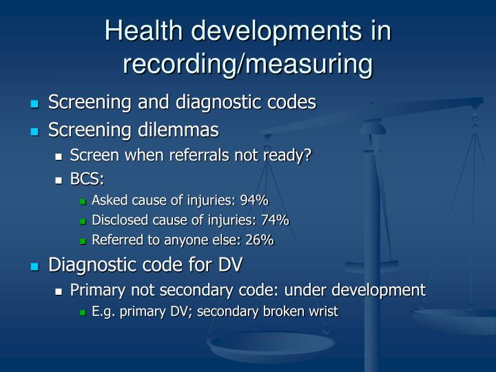 Health developments in recording/measuring