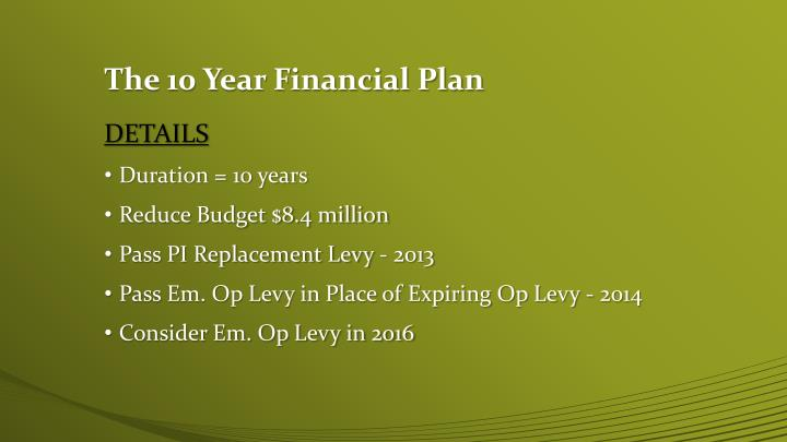 The 10 Year Financial Plan