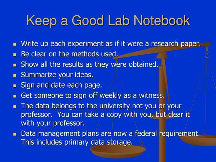 Keep a Good Lab Notebook