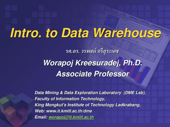 Intro to data warehouse