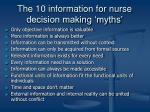 the 10 information for nurse decision making myths