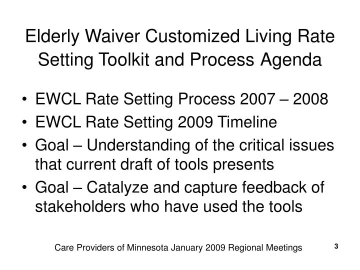 Elderly Waiver Customized Living Rate Setting Toolkit and Process