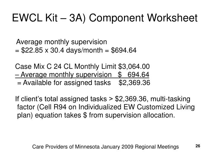 EWCL Kit – 3A) Component Worksheet
