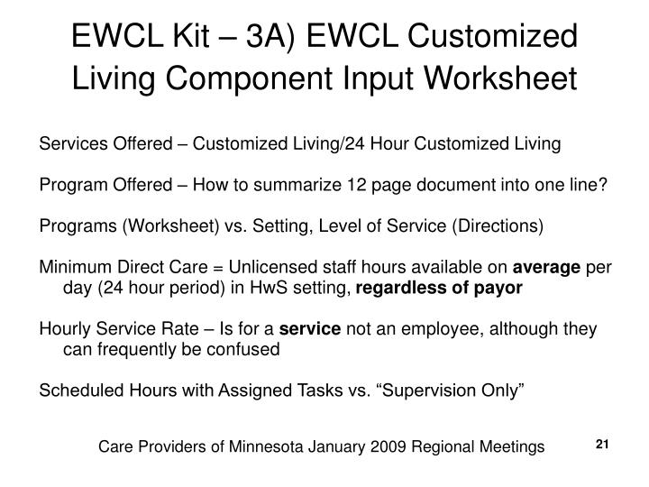 EWCL Kit – 3A) EWCL Customized Living Component Input Worksheet