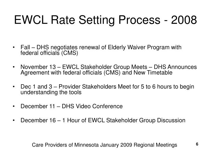 EWCL Rate Setting Process - 2008