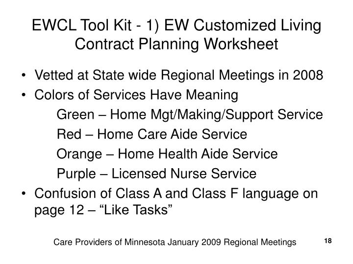 EWCL Tool Kit - 1) EW Customized Living Contract Planning Worksheet